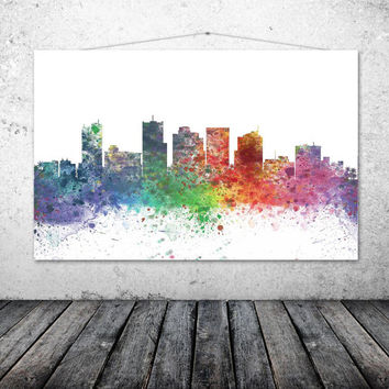 Phoenix City, Arizona, Skyline Watercolor Art