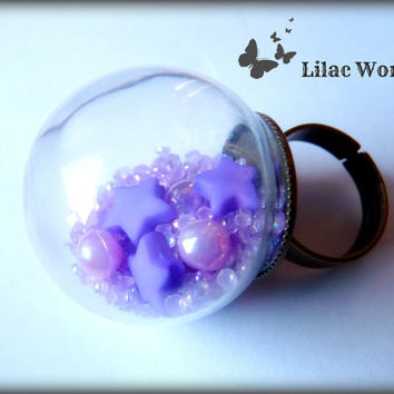 Lilac World Glass Globe Ring  Bronze by MichiMichiRainbow on Etsy