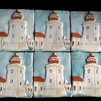 Tiles with low relief. Ceramic tile handmade with lighthouse colorful image. Decorative and unique tiles. Handpainted tile.- Mosaic tiles.