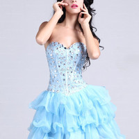 A-line Sweetheart Organza Short/Mini Blue Rhinestone Homecoming Dress at dressestore.co.uk