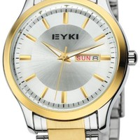 EYKI 8598 Men's Quartz Waterproof Wristwatches Golden mix Silver Dial and Stainless Steel Band