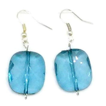 Blue Faceted Rounded Square Beaded Earrings
