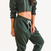 Army Green Crop Top Jumpsuit