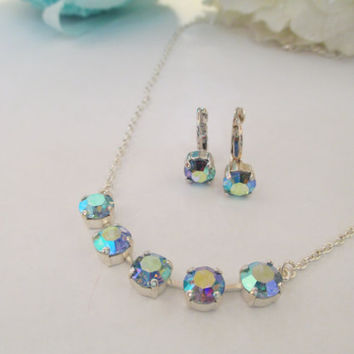 swarovski crystal necklace and earring set, 8mm, choose your stones, designer inspired, minimalist, dazzling, birthstone, custom made