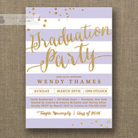 Gold & Lilac Graduation Party Invitation Gold Glitter Lavender Purple Horizontal Stripes Modern Bachelorette DIY Digital or Printed- Wendy