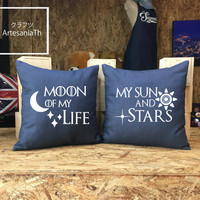 Moon of my life My sun and Stars Pillow Cover, Christmas Gift, Game of thrones Pillow cover Jean cotton canvas set