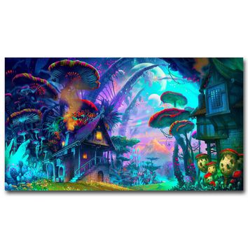 Canvas Wall Art: Mushrooms House - Psychedelic Trippy Wall Art Print