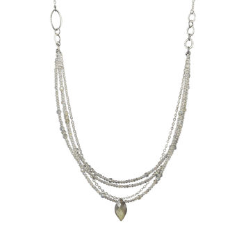 Triple strand Labradorite and sterling silver statement necklace