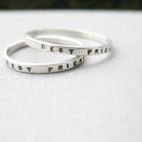 Set of 2 Best Friend Rings - Solid Sterling Silver