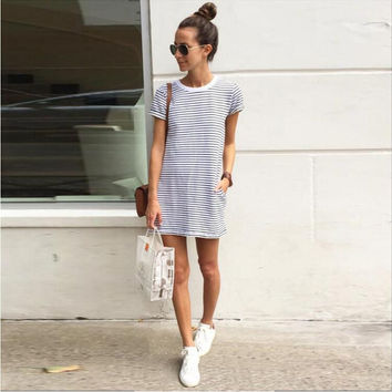 Black and White Stripe Short Sleeve Mini Dress