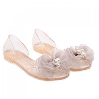 Sweet Bow and Transparent Design Sandals For Women