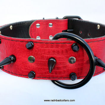 "Black And Red Spiked Dog Collar - 2"" Red Spiked Dog Collar - Leather Black Spiked Dog Collar (Powder Coated Hardware)"