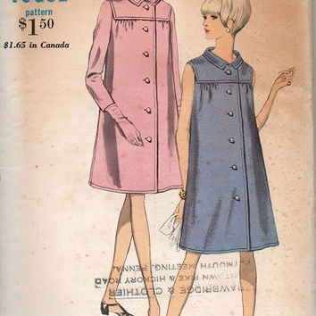 Vogue 1960s Sewing Pattern Maternity Coat Dress Long Sleeve Sleeveless A-line Front Yoke Button Front Jacket Coatdress Bust 34