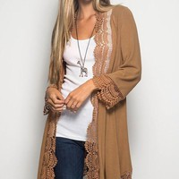 Lace Trim Cardigan - Camel