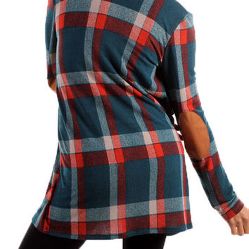 Teal Plaid Cardigan with suede elbow patches | Posh Boutique