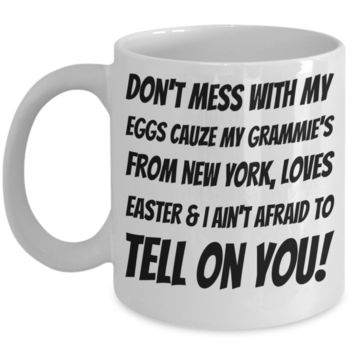 White Ceramic Affordable Grandma Mug Coffee Easter Holiday Gift Mugs Coffee Funny Sayings Cup For New York Grandparents Easter Bunny Chocolate Jar From Grandkids New York