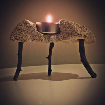 Natural Home Decor /  Decorative Natural Pumice Stone / Candle Holder/ Tree Branch Decor/Natural Gift