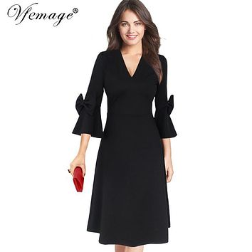 Vfemage Womens Autumn Winter Elegant 3/4 Flare Bell Sleeve V Neck Bow Fashion Work Party Evening Fit and Flare A Line Dress 8197