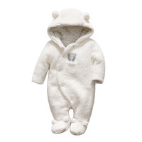 Newborn baby clothes bear Onesuit baby girl boy rompers hooded plush jumpsuit winter overalls for kids roupa infantil menina