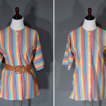 Vintage 1970's Blouse / Rainbow Stripes / Side Slits / Boxy Slouchy