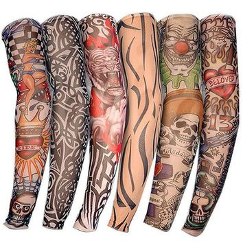 ac PEAPO2Q 6 PCS New Nylon Elastic Fake Temporary Tattoo Sleeve Designs Body Arm Stockings Tatoo for Cool Men Women Free shipping D01040