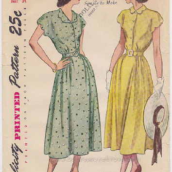 Dress Pattern 1940s Vintage Simplicity 2473 Bust 34 Scalloped Collar Short Sleeves