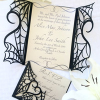Gothic Spiderweb halloween RSVP wedding party card DIY kit spooky love heart match