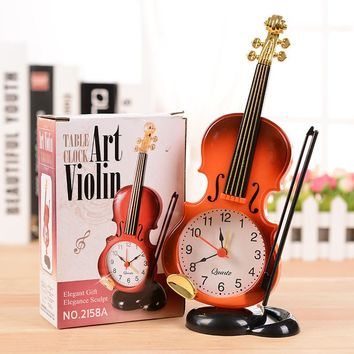 Creative Instrument Table Clock Student violin Gift Home Decor fiddle quartz  Alarm Clock Desk Plastic Craft despertador de mesa