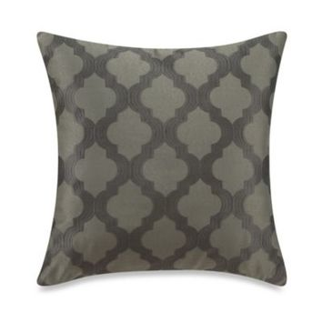 Tangiers Embroidered Square Toss Pillow in Grey