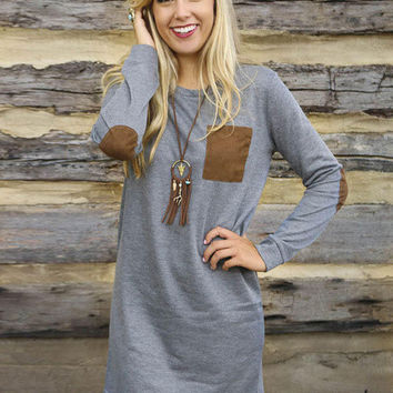 Gray Long Sleeve Patch Elbow and Pocket Mini Dress