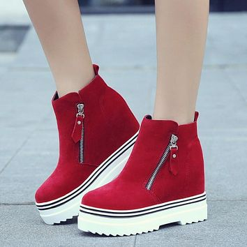 Fashion Increased Thick Bottom Wedge Ankle Boots