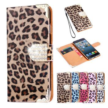 New Fashion Bling Bling Diamond Leopard pattern leather flip phone case for iPhone X 8 8Plus 7 7Plus 6 6S for Samsung Galaxy S8