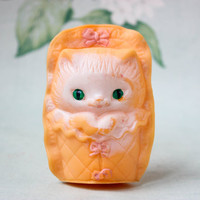 Soviet Kitten Toy / Cute Pink Vintage Rubber Squeaky Cat Baby in Envelope / 4'' Tall Collectible Animal Toy, Circa 80's - Early 90's