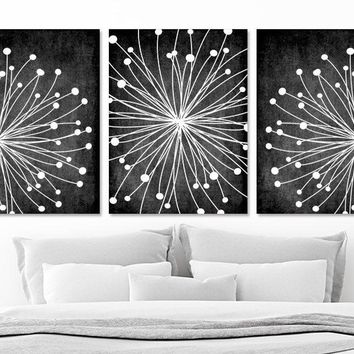 DANDELION Wall Art, CANVAS or Prints Chalkboard Black White Bedroom Wall Decor, Black White Bathroom Decor,  Set of 3 Black White Home Decor