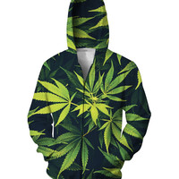 Unisex 3D Weed Leaf Zip-Up Hoodie Sweats Fashion Clothing Sweatshirts Casual Outfits