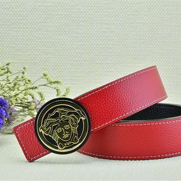 Gold Buckle With Free Red Leather Versace Litchi Stria Belt Brand New On Sale