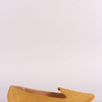 Qupid Suede Pointy Toe Loafer Flat