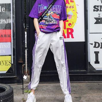 """Adidas"" Women Casual Personality Letter Car Pattern Print Short Sleeve T-shirt Stripe Trousers Set Two-Piece Sportswear"