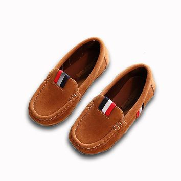 Spring Boys Shoes PU Leather Moccasin Loafers Casual Single Flats Sneakers