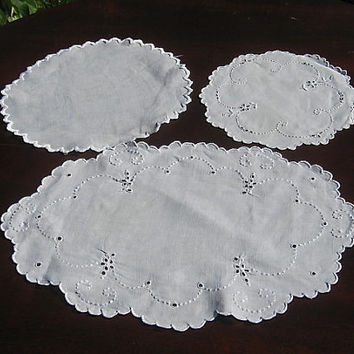 Vintage Doily Lot of Three 3 Doilies White Embroidered Group Broderie Anglaise Doily Lot