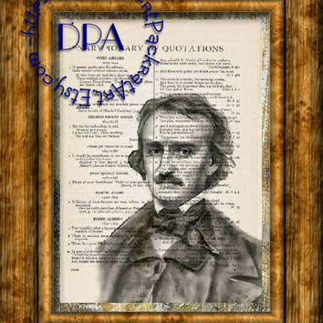 Gothic Horror Author Edgar Allen Poe Drawing Art - Vintage Dictionary Page Art Print Upcycled Page Print