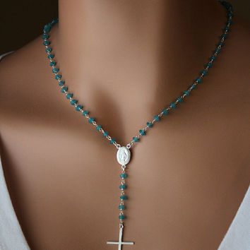 Teal Blue Chalcedony Rosary Necklace, 925 Sterling Silver, Aqua Blue Gemstone, Rosary Style, Yolanda Foster inspired, Real Housewives
