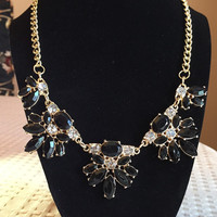 Black & Gold Jewel Statement Necklace / JCrew Inspired / Bib Necklace