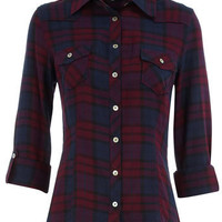 Magenta checked shirt - View All New In - What's New - Dorothy Perkins