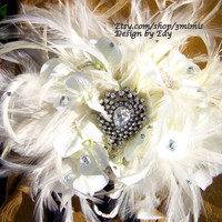 Brooch Bouquet 1920s Inspired  White Feather Rhinestone Wedding Bouquet