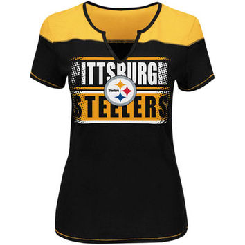 Women's Pittsburgh Steelers Majestic Black/Gold Plus Size Football Miracle T-Shirt