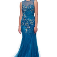 KC131507 Blue Evening Gown Floral Prom Dress by Kari Chang Couture
