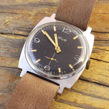 Vintage Zim mens watch black dial russian watch ussr cccp