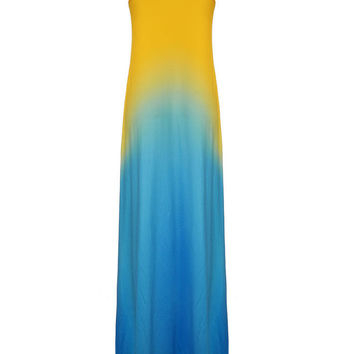 Women Sleeveless O Neck Yellow Gradient Blue Maxi Dress Maxi Dress Evening Party Dress
