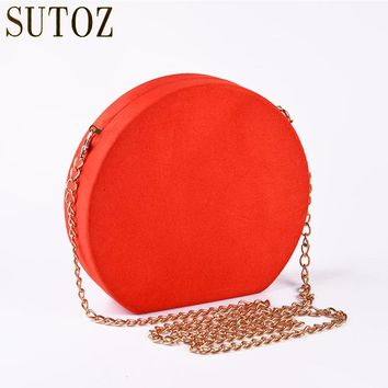 Vintage Velour Evening Bag Clutch Red/Green Round Woman Bags Lady Clutches Messenger Luxury Handbag Party Bag Velvet Purse BA427